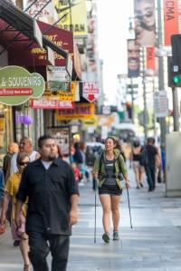 Liz Thomas Fastpacking along Broadway in urban downtown LA.