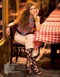 Yulia Serzhantova in Hippie Glam 70's by Benjamin Kanarek for Harper's Bazaar China
